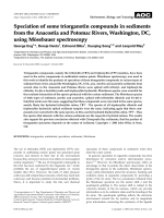 Speciation of some triorganotin compounds in sediments from the Anacostia and Potomac Rivers  Washington  DC  using Mssbauer spectroscopy.