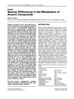 Species differences in the metabolism of arsenic compounds.