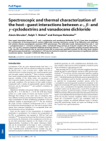 Spectroscopic and thermal characterization of the hostЦguest interactions between -  - and -cyclodextrins and vanadocene dichloride.