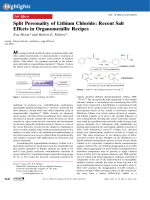 Split Personality of Lithium Chloride  Recent Salt Effects in Organometallic Recipes.