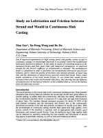 Study on Lubrication and Friction between Strand and Mould in Continuous Slab Casting.