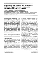 Subchronic oral toxicity (six months) of carboxyethylgermanium sesquioxide [(HOOCCH2CH2Ge)2O3]n in rats.