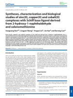 Syntheses  characterization and biological studies of zinc(II)  copper(II) and cobalt(II) complexes with Schiff base ligand derived from 2-hydroxy-1-naphthaldehyde and selenomethionine.