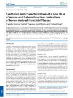 Syntheses and characterization of a new class of mono- and heterodinuclear derivatives of boron derived from Schiff bases.