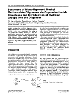 Syntheses of monodispersed methyl methacrylate oligomers via organolanthanide complexes and introduction of hydroxyl groups into the oligomer.