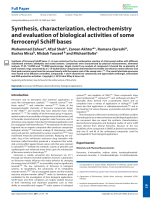 Synthesis  characterization  electrochemistry and evaluation of biological activities of some ferrocenyl Schiff bases.