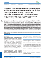 Synthesis  characterization and anti-microbial studies of cadmium(II) compounds containing 3 10-C-meso-Me8[14]aneC.