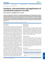 Synthesis  characterization and applications of coordination polymers of Ln(III).