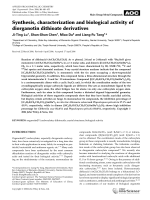 Synthesis  characterization and biological activity of diorganotin dithioate derivatives.