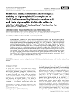 Synthesis  characterization and biological activity of diphenyltin(IV) complexes of N-(3 5-dibromosalicylidene)--amino acid and their diphenyltin dichloride adducts.