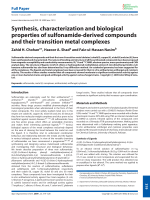 Synthesis  characterization and biological properties of sulfonamide-derived compounds and their transition metal complexes.