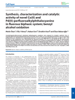 Synthesis  characterization and catalytic activity of novel Co(II) and Pd(II)-perfluoroalkylphthalocyanine in fluorous biphasic system; benzyl alcohol oxidation.