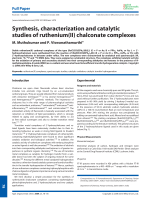 Synthesis  characterization and catalytic studies of ruthenium(II) chalconate complexes.