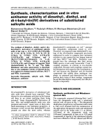 Synthesis  characterization and in vitro antitumor activity of dimethyl-  diethyl  and di-t-butyl-tin(IV) derivatives of substituted salicylic acids.