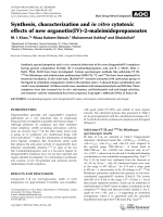 Synthesis  characterization and in vitro cytotoxic effects of new organotin(IV)-2-maleimidopropanoates.