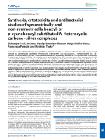 Synthesis  cytotoxicity and antibacterial studies of symmetrically and non-symmetrically benzyl- or p-cyanobenzyl-substituted N-Heterocyclic carbeneЦsilver complexes.