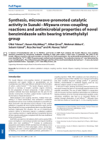 Synthesis  microwave-promoted catalytic activity in SuzukiЦMiyaura cross-coupling reactions and antimicrobial properties of novel benzimidazole salts bearing trimethylsilyl group.