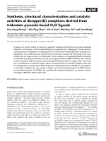 Synthesis  structural characterization and catalytic activities of dicopper(II) complexes derived from tridentate pyrazole-based N2O ligands.
