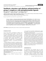 Synthesis  structure and ethylene polymerization of group 4 complexes with phosphinoamide ligands.