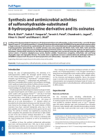 Synthesis and antimicrobial activities of sulfonohydrazide-substituted 8-hydroxyquinoline derivative and its oxinates.