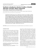 Synthesis and physico-chemical studies of double alkoxides and their allied compounds.