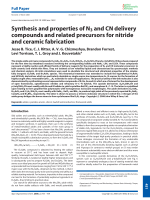 Synthesis and properties of N3 and CN delivery compounds and related precursors for nitride and ceramic fabrication.