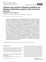 Synthesis and reactivity of thiophene palladium and thiophene dipalladium complexes with unsaturated molecules.