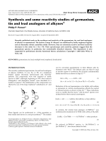 Synthesis and some reactivity studies of germanium  tin and lead analogues of alkynes.