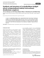 Synthesis and structures of cycloalkylidene-bridged mixed cyclopentadienyl-indenyl tetracarbonyl diruthenium complexes.