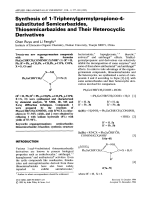 Synthesis of 1-triphenylgermylpropiono-4-substituted semicarbazides  thiosemicarbazides and their heterocyclic derivatives.