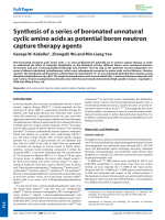 Synthesis of a series of boronated unnatural cyclic amino acids as potential boron neutron capture therapy agents.