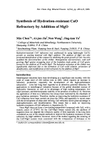 Synthesis of Hydration-resistant CaO Refractory by Addition of MgO.