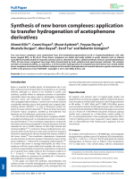 Synthesis of new boron complexes  application to transfer hydrogenation of acetophenone derivatives.