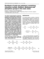 Synthesis of poly-yne polymers containing transition metals  disilane  disiloxane and phosphine groups in the main chain.