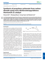 Synthesis of propylene carbonate from carbon dioxide using trans-dichlorotetrapyridineru- thenium(II) as catalyst.