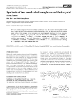 Synthesis of two novel cobalt complexes and their crystal structures.