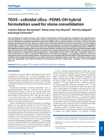 TEOSЦcolloidal silicaЦPDMS-OH hybrid formulation used for stone consolidation.