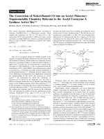 The Conversion of Nickel-Bound CO into an Acetyl Thioester  Organometallic Chemistry Relevant to the Acetyl CoenzymeA Synthase Active Site.