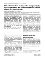 The determination of organotin compounds in fruit juices using gas chromatography-atomic absorption spectrometry.