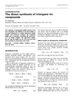 The direct synthesis of triorgano tin compounds.