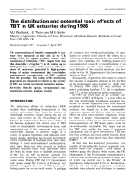The distribution and potential toxic effects of TBT in UK estuaries during 1986.