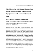 The Effect of Particle Size and Heating Rate on the Transformation of Sulphur during Pyrolysis of a South Australian Low-rank Coal.