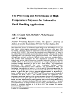 The Processing and Performance of High Temperature Polymers for Automotive Fluid Handling Applications.