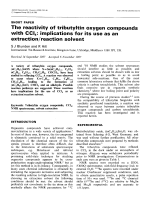 The reactivity of tributyltin oxygen compounds with CCl4  Implications for its use as an extractionreaction solvent.