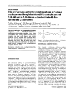 The structure-activity relationships of some cyclopentadienyltitanium (IV) complexes of 1  3-dihydro-1  3-dioxo--(substituted)-2H-isoindole-2-acetates.
