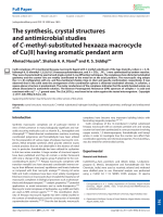 The synthesis  crystal structures and antimicrobial studies of C-methyl-substituted hexaaza macrocycle of Cu(II) having aromatic pendant arm.