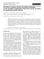 Theeffect of sodium silicate and sodium hydroxide on the strength of aggregates made from coal fly ash using the geopolymerisation method.