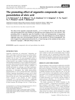 Thepromoting effect of organotin compounds upon peroxidation of oleic acid.
