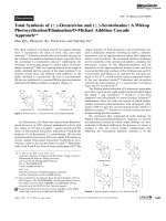 Total Synthesis of (▒)-Decursivine and (▒)-Serotobenine  A Witkop PhotocyclizationEliminationO-Michael Addition Cascade Approach.
