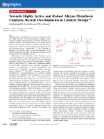 Towards Highly Active and Robust Alkyne Metathesis Catalysts  Recent Developments in Catalyst Design.